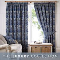Lucetta Navy Pencil Pleat Curtains Navy Blue and Green