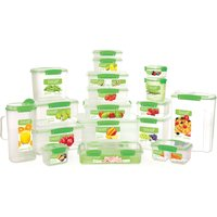 image-Sistema 1.2L Pack of 3 Klip It Plastic Lunch Boxes Clear and Green