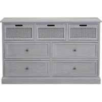 image-Lucy Cane Grey 7 Drawer Chest Slate (Grey)