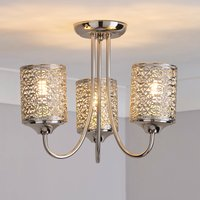 image-Tunis 3 Light Fretwork Nickel Ceiling Fitting Champagne