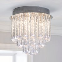 image-Parika 3 Light Glass Droplet Flush Ceiling Fitting Silver