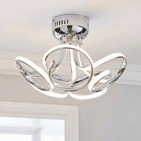 image-Cortez 5 Light Integrated LED Swirl Semi-Flush Ceiling Fitting Silver