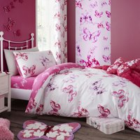 Catherine Lansfield Butterfly Pink Single Duvet Cover and Pillowcase Set Pink