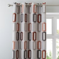Elements Dahl Rust Eyelet Curtains Brown and Grey