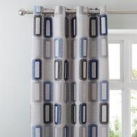Elements Dahl Blue Eyelet Curtains Blue and Grey