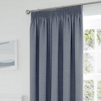 Tyla Denim Blackout Pencil Pleat Curtains Blue