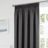 Tyla Graphite Blackout Pencil Pleat Curtains Grey