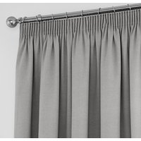 Tyla Silver Blackout Pencil Pleat Curtains Silver