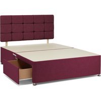 Universal 4 Drawer Linen Divan Base with Headboard Purple