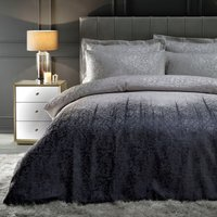 Ontario Luxe Metallic Silver Reversible Duvet Cover and Pillowcase Set Silver, Purple and White