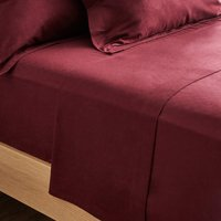 Dorma Supreme Premium 100% Brushed Cotton Plain Red Flat Sheet Red