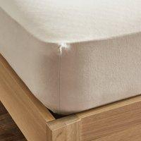 Dorma Supreme Premium 100% Brushed Cotton Plain Natural 32cm Fitted Sheet Natural