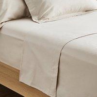 Dorma Supreme Premium 100% Brushed Cotton Plain Natural Flat Sheet Natural