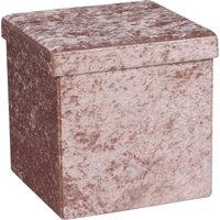 Foldable Blush Velvet Cube Ottoman Blush