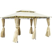 image-3m x 4m Steel Art Gazebo with Side Curtains Beige