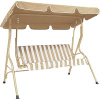 Striped 2 Seater Beige Swing Bench Natural