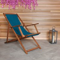 image-Charles Bentley Teal Wooden Deck Chair Teal
