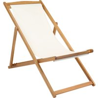 image-Charles Bentley Wooden Folding Deck Chair Brown and White