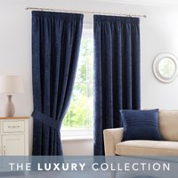 Chenille Navy Pencil Pleat Curtains Navy Blue