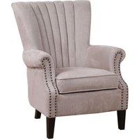 Lottie Pleated Wingback Chair - Oatmeal Grey