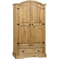Corona Pine 2 Door 1 Drawer Wardrobe Brown