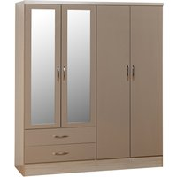 image-Nevada 4 Door 2 Drawer Oyster Mirrored Wardrobe Oyster