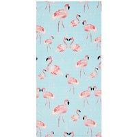 image-Catherine Lansfield Flamingo 76x160cm Multi Coloured Beach Towel Blue