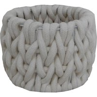 image-Cable Knit Storage Basket Cream