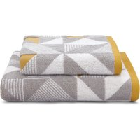 image-Elements Geo Ochre Towel Grey and Yellow