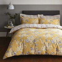 Ashbourne Ochre Reversible Duvet Cover and Pillowcase Set Ochre
