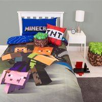 Minecraft Goodguys Single Duvet Cover and Pillowcase Set Red, Blue and Green