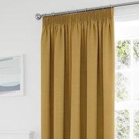 Tyla Ochre Thermal Blackout Pencil Pleat Curtains Ochre