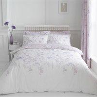 image-Iris Mauve 100% Cotton Reversible Duvet Cover and Pillowcase Set Mauve