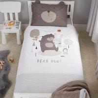 Bear Hugs 100% Cotton Cot Bed Duvet Cover and Pillowcase Set Natural