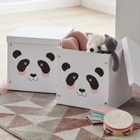 image-Panda Set of 2 Cardboard Boxes Black and White