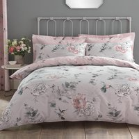 Heavenly Hummingbird Grey and Blush Duvet Cover and Pillowcase Set Grey and Pink