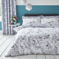 Ginkgo Butterfly White Reversible Duvet Cover and Pillowcase Set White