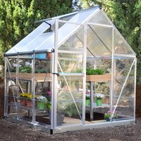 6ft x 6ft Palram Silver Nature Plastic Hybrid Greenhouse Silver