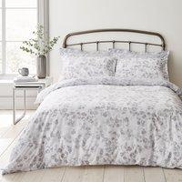Piper Grey 100% Cotton Reversible Duvet Cover and Pillowcase Set Grey