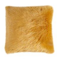 image-Fluffy Faux Fur Cushion Cover Ochre