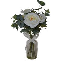 image-Artificial Roses White in Glass Vase 44cm White