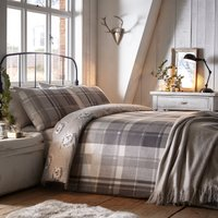 Colville Grey Check 100% Brushed Cotton Reversible Duvet Cover and Pillowcase Set Grey