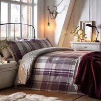 Colville Check Plum 100% Brushed Cotton Reversible Duvet Cover and Pillowcase Set Purple