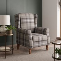 image-Oswald Check Wingback Armchair - Grey Grey and White