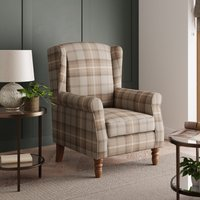 Oswald Check Wingback Armchair - Natural Brown, Blue and Whi