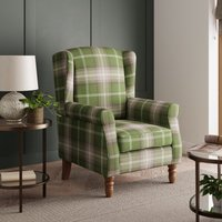 Oswald Check Wingback Armchair - Green Green, White and Purp