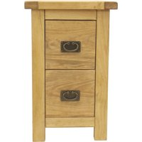 image-Natural 2 Drawer Pull Handle Petite Bedside Brown