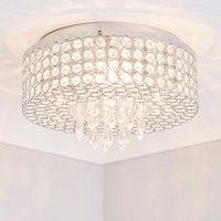 image-Lavello 4 Light Jewel Chrome Flush Ceiling Fitting Chrome and Clear