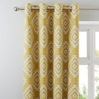 Catherine Lansfield Aztec Ochre Eyelet Curtains Yellow and White