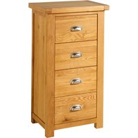 image-Woburn Oak 4 Drawer Narrow Chest Brown